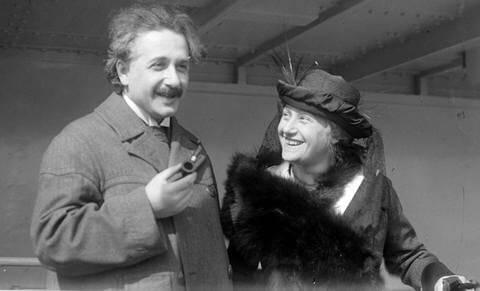 Einstein with His Cousin/Wife Elsa